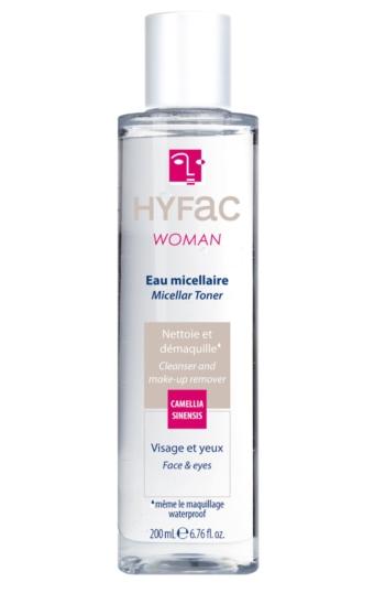 Eau micellaire HYFAC WOMAN nettoie et démaquille